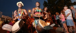 Link to Editorial Photography gallery showing African drummers performing in a street parade in Wodonga