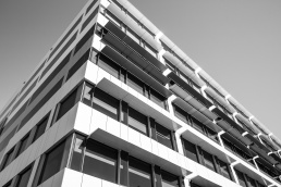 A low angle photo of the corner facade of the Taxation offices in Albury
