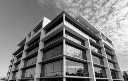 Black and white photo of The Gardens medical centre in Albury