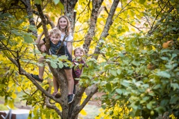 Three kids climbing a tree and smiling