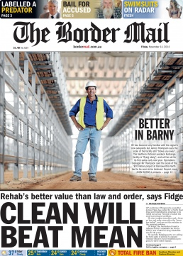 Front Page of The Border Mail newspaper November 14, 2014. Photo of new saleyards by John Russell