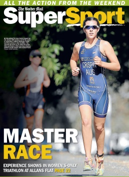 Front Page of The Border Mail newspaper suppliment Super Sport. Photo of Emilty Crispin running by John Russell