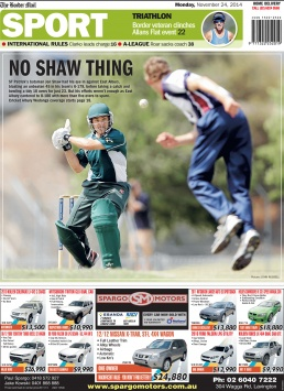 Back Page of The Border Mail newspaper November 24, 2014. Photo of cricket player John Shaw batting by John Russell