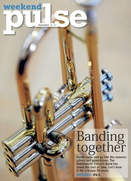 Front Page of The Border Mail newspaper suppliment Weekend Pulse. Photo of a trumpet mechanism by John Russell