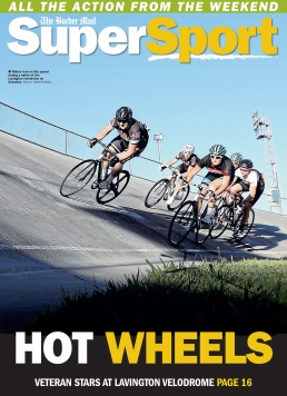 Front Page of The Border Mail newspaper suppliment Super Sport. Photo of cyclists in a Veladrome by John Russell