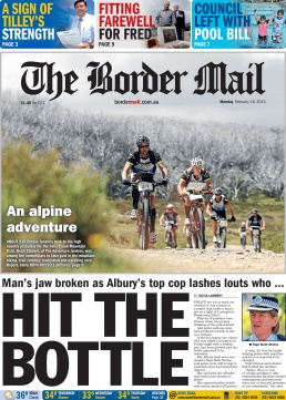 Front Page of The Border Mail newspaper February 16, 2015. Photo of cyclists at Falls Creek by John Russell