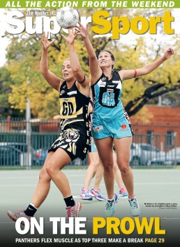 Front Page of The Border Mail newspaper suppliment Super Sport. Photo of Netball players by John Russell