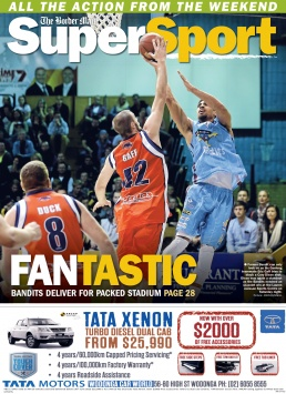 Front Page of The Border Mail newspaper suppliment Super Sport. Bandits Basketball. Photo by John Russell