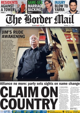Front Page of The Border Mail newspaper July 2, 2015. Photo by John Russell