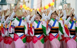 Japanese women perform a traditional dance during the Awa Odori festival