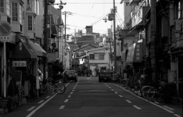 A photo of a residential street in Tennoji Japan