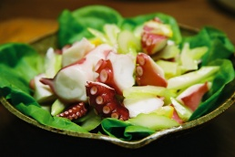 Octopus salad in Japanese bowl